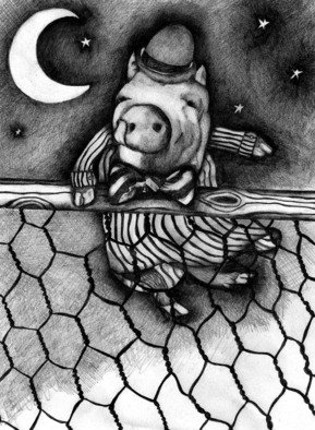 John Bonnel; OLD TIMEY NIGHT SHIRT, 2010, Original Drawing Pencil, 8 x 11 inches. Artwork description: 241   JUMP THE FENCE            ...