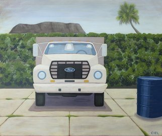 John Cielukowski; big white truck port canaveral, 2016, Original Giclee Reproduction, 14 x 11 inches. Artwork description: 241 colorfullandscapegrasscolor55 gallon drumskyindustrialFordfoliagesand ...