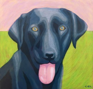 John Cielukowski; black lab, 2017, Original Giclee Reproduction, 14 x 14 inches. Artwork description: 241 Giclee print on archival acid- free paper....