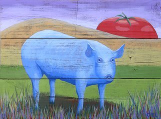 John Cielukowski; Blue Pig, 2018, Original Painting Acrylic, 21 x 17 inches. Artwork description: 241 Original Acrylic Painting on vintage pine fence board...