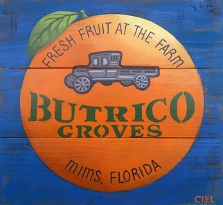 John Cielukowski; Butrico Groves Mims Florida, 2020, Original Painting Acrylic, 17 x 17 inches. Artwork description: 241 Original acrylic paintings on aged pine fencing. Ready to hang. ...