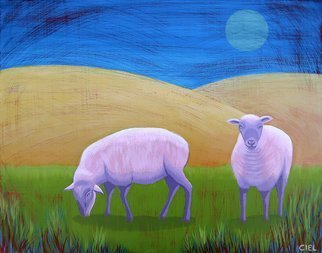 John Cielukowski; Sheep Meadow, 2018, Original Painting Acrylic, 20 x 16 inches. Artwork description: 241 Original acrylic painting on a birch wood dimensional panel.Finished edges.  Ready to hang....