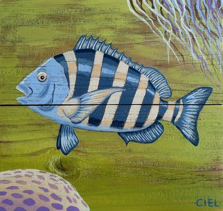 John Cielukowski; Sheepshead, 2019, Original Painting Acrylic, 12 x 12 inches. Artwork description: 241 Original acrylic painting on aged pine fencing. Ready to hang. ...
