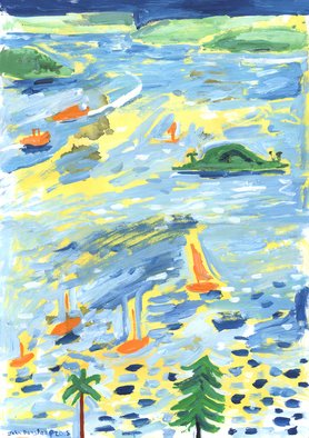 John Douglas; A Lovely Day On The Bay, 2015, Original Painting Other, 21 x 42 cm. Artwork description: 241  Gouache and ink blotches on paper. Elizabeth bay, Sydney, Australia.   ...
