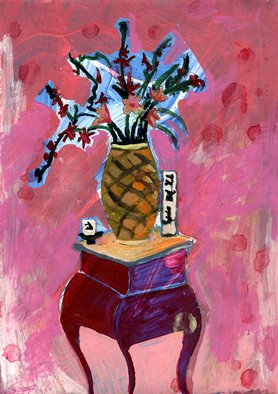 John Douglas; My Friends Bordello 16, 2004, Original Painting Acrylic, 30 x 21 cm. Artwork description: 241  Flowers in a vase. From a series about a bordello. ...