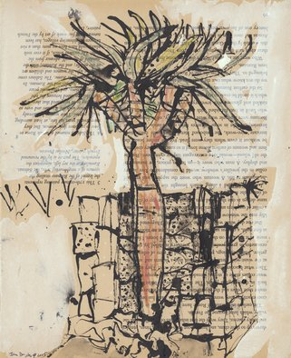 John Douglas; Dragon Blood Tree, 2015, Original Drawing Ink, 24.8 x 34.5 cm. Artwork description: 241 Dragon blood tree, darling Point, Sydney Australia.Ink, gouache, aquarelle pencils on a book page on Roman History. From life. ...