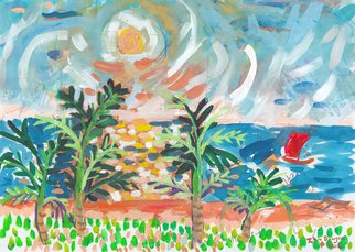 John Douglas; Rred Boat Blue Sea, 2016, Original Painting Other, 29.7 x 21 cm. Artwork description: 241 Sunset, Sri Lanka.Gouache, pen, newspaper collage on paper. From life. ...
