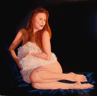 John Entrekin; Cheescake, 2011, Original Painting Oil, 16 x 16 inches. Artwork description: 241  This came from a modeling session with one of my favorite models who was just having fun with the fluffy pillow and sort of mimicking cheesecake poses. This one just seemed worthy of a painting.  ...