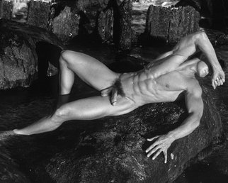 John Falocco; On The Rocks, 2015, Original Photography Black and White, 11 x 14 inches. Artwork description: 241    Male Nude Photography    ...