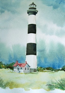 John Hopper; Bodie Island Light, 2012, Original Watercolor, 11 x 15 inches. Artwork description: 241  Bodie Island Light is one of a quartet of paintings of Outer Banks lighthouses in North Carolina.  The four paintings can be purchased as a group or each one separately.  A limited edition of giclee prints are available also. Contact artist for information. ...