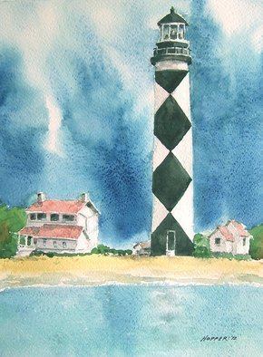 John Hopper; Cape Lookout Light, 2012, Original Watercolor, 11 x 15 inches. Artwork description: 241  Cape Lookout Light is on the Outer Banks in North Carolina and is one of the most famous lighthouses in the world.  It is one of a quartet of paintings that can be purchased as a group or separately.  A limited edition of giclee prints are ...