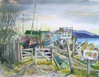 John Hopper; Mendocino Boatyard, 2012, Original Watercolor, 30 x 26 inches. Artwork description: 241    Along Highway 1 on the Mendocino coast a collection of boats reside, some not to sail again, some waiting restoration, all biding time and weather behind a wooden gate.   ...