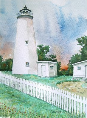 John Hopper; Ocracoke Light, 2012, Original Watercolor, 11 x 15 inches. Artwork description: 241  Ocracoke Light is one of a quartet of paintings of Outer Banks lighthouses in North Carolina.  The four paintings can be purchased as a group or each one separately.  A limited edition of giclee prints are available also. Contact artist for information.   ...