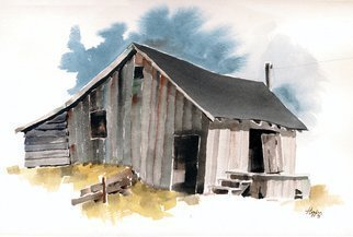 John Hopper; Saranap Shed, 1975, Original Watercolor, 14 x 9 inches. Artwork description: 241  Located on a railroad spur this shed and loading dock was used for sending milk cans to market in the early 1900s.  Abandoned when the rail line was torn up, the shed was razed and replaced by a 7- 11 convenience store.  The price of progress in ...