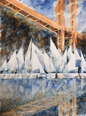 John Hopper; opening day on the bay, 2017, Original Watercolor, 24 x 30 inches. Artwork description: 241   Clouds scurry across the Golden Gate low enough to obscure the towers and to make the sails on the boats below bow to her majestyaEUR