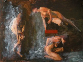 John Pacer; 3 Figures Bathing, 2010, Original Painting Acrylic, 20 x 15 inches. Artwork description: 241  Acrylic Painting, John Pacer, Figures, Nudes, Bathers...