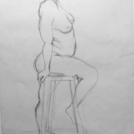 John Powell, , , Original Drawing Pencil, size_width{Nude_2-1186777863.jpg} X 18 inches