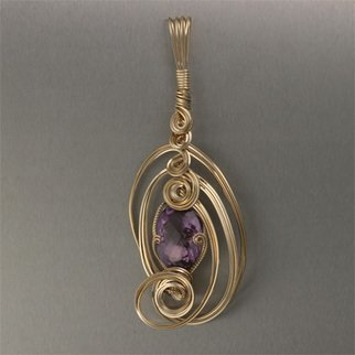 John Brana; Amethyst Pendant Brilliant Cut, 2008, Original Jewelry,   inches. Artwork description: 241  27. 5 carat Brilliant Cut Amethyst in 14K Gold Filled Sculpted Wire. Pendant measures 4 1/ 2 inches high by 1 3/ 4 inches wide. Bail is 1/ 4 inches wide. ...