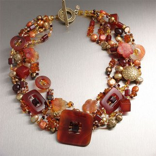 John Brana; Carnelian Necklace, 2008, Original Jewelry,   inches. Artwork description: 241  Make a striking fashion statement by draping yourself in pure luxury with this hand- carved Carnelian necklace. Multicolor variations, shapes, and textures of Carnelian are further enhanced by Gold Freshwater Pearls and 22K Gold Vermeil beads. 20 inches in length. ...