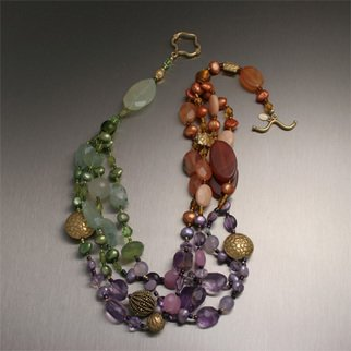 John Brana; Tropical Garden Necklace, 2008, Original Jewelry,   inches. Artwork description: 241  Indulge in the succulence of this elegant Tropical Garden necklace. Peridot nuggets, Champagne Quartz, Yellow and Lavender Jade, Freshwater Pearls, Amber, and Ametrine nuggets complete the look beautifully. Accented with 22K Gold Vermeil beads and 21 inches in length. ...