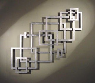 John Searles; 10-Aluminum, 2007, Original Sculpture Aluminum, 58 x 50 inches. Artwork description: 241 Sold - commissions welcome in any color.9 rectangles and 1 straight center piece are cut from a sheet of 1/ 4