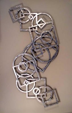 John Searles; Aluminum Reverse S, 2003, Original Sculpture Aluminum, 50 x 97 inches. Artwork description: 241 Sold - Welcoming Commissions in any color.Two sheets of brushed aluminum are laminated to 1/ 4