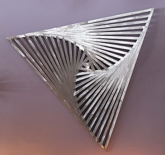 John Searles; Aluminum Rotating Triangles, 2013, Original Sculpture Aluminum, 53 x 53 inches. Artwork description: 241   16 triangles, each larger than the next, are stacked and rotated so that the edges touch the sides. Each triangle is made with aluminum laminated to a wood armature, 1/ 2
