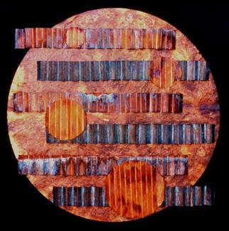 John Searles; Moonrise Over Water, 2000, Original Mixed Media, 42 x 42 inches. Artwork description: 241 Sold - welcoming commissions. This piece is composed of copper with patinas cut, shaped and arranged on a circular base of copper. Four different sized moons depict the size and passage of the moon across the sky and above the undulating waters...