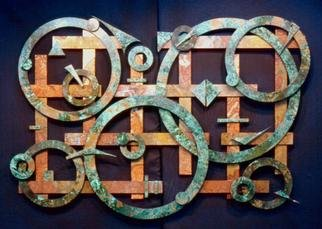 John Searles; Space Travel, 2000, Original Sculpture Other, 49 x 34 inches. Artwork description: 241 Sold - commissions welcomed in any size.Patinas were applied to copper and then the metal was cut, finished and arranged as a framed wall sculpture....