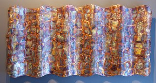 John Searles; Undulated Copper Wavy Weaving, 2013, Original Sculpture Other, 36 x 16 inches. Artwork description: 241   Copper strips are cut into wavy patterns, woven together, undulated then mounted on a rigid backing and flame colored. This wall art weaving is sealed with lacquer. ...