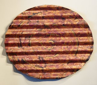 John Searles; Undulated Copper Woven Circle, 2013, Original Sculpture Other, 36 x 30 inches. Artwork description: 241   Two copper circles are given a fire patina, cut, woven together, undulated and mounted on a rigid frame. This wall art weaving is protected with a lacquer coating. ...