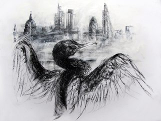 John Sharp; Cormorant Thames The City, 2016, Original Drawing Charcoal, 93 x 63 cm. Artwork description: 241  london, london skyline, cormorant, Thames, birds, large drawing, charcoal, ...