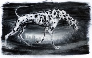 John Sharp; Dog on the Heath, 2013, Original Drawing Charcoal, 104 x 65 cm. Artwork description: 241  dog, london, london dog, ...