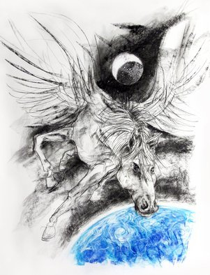 John Sharp; Pegasus Planet Moon, 2016, Original Drawing Charcoal, 66 x 93 cm. Artwork description: 241 surrealism, power, fame, celebrity, dictators, ...