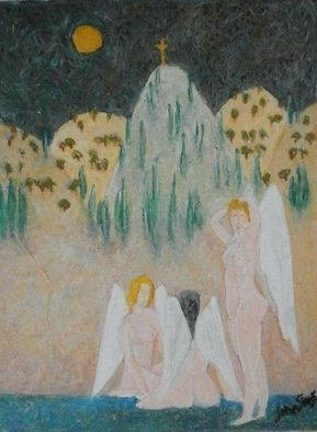 John Sims; Bathing Angels Cyprus, 2009, Original Pastel Oil, 30 x 40 cm. Artwork description: 241 Another Cyprus winged figure dream in Oil Pastel on Paper...