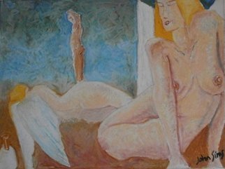 John Sims; Dream Of Angels Cyprus, 2009, Original Pastel Oil, 40 x 29 cm. Artwork description: 241 An early oil pastel on paper. I often Had dreams that featured naked winged figures. In this dream that is me in the background with my sculptors mallet in the bottom left...