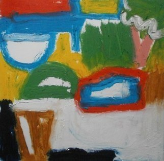 John Sims; January Doodle, 2018, Original Painting Oil, 21 x 21 cm. Artwork description: 241 Making marks, thoughts about abstraction, balance, form and colour...