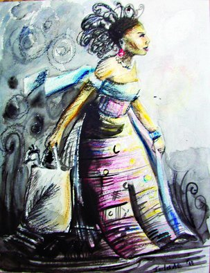 Jolade Adebayo; Elegance Carries A Bag, 2011, Original Drawing Other, 22.5 x 29 cm. Artwork description: 241   Elegant people usually apply some form of effort to look good. They have lotions, potions, wardrobes and perfumes. They pay attention. This work is in ink, pastel and water colour.  ...