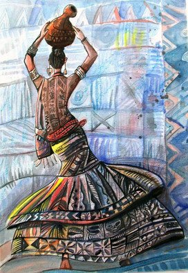 Jolade Adebayo; Hips Do Not Lie, 2010, Original Drawing Other, 33.5 x 47 cm. Artwork description: 241   This piece represents a confident Yoruba lady who is proud of her curves even though by her tribes standards, it is not wide enough. She still flaunts it elegantly.  ...