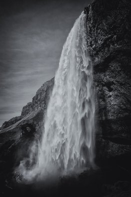 Jonathan O'Hora; Seljalandsfoss, 2017, Original Photography Black and White, 21 x 32 inches. Artwork description: 241 Seljalandsfoss 32  x 21 Seljalandsfoss is one of the best known waterfalls in Iceland. Seljalandsfoss is located in the South Region in Iceland. The waterfall is one of the most popular waterfalls and natural wonders in Iceland. The waterfall drops 60 m  197 ft  and is part ...