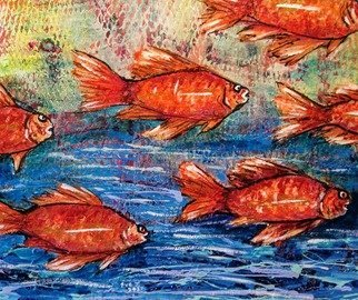 Eve Jorgensen; Fish In The Ocean No 1, 2019, Original Painting Acrylic, 61 x 51 cm. Artwork description: 241 Colourful Coral trout fish in water. textured paint...