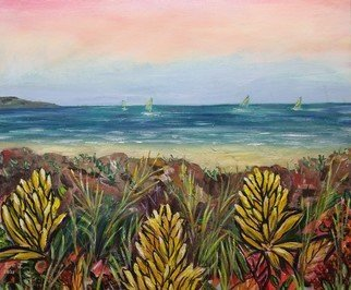 Eve Jorgensen; View From The Lookout, 2021, Original Painting Acrylic, 61 x 51 cm. Artwork description: 241 Landscape, seascape view from the lookout. Australian native plants growing on NSW South Coastal headland overlooking the Pacific ocean...