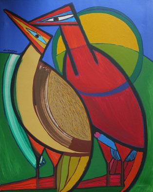 Jose Miguel Perez Hernandez; Copulation, 2009, Original Painting Acrylic, 96 x 120 cm. Artwork description: 241 Description Beautiful work where the mating of the male with the female becomes a poetic scene. See the rich structure of the work where color and composition emphasize its conceptual load.keywords color, bird, sun, copulation...