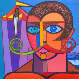Jose Miguel Perez Hernandez; The Juggler, 2007, Original Painting Acrylic, 101 x 101 cm. Artwork description: 241  It is a youth in the brilliance of the life. That it traps us and captivates, with his strong looked. Plays in a daring balance with his knife, is capable of eating candle, be swallowedthe sword, to launch the knife to the perfect target , since his better ...