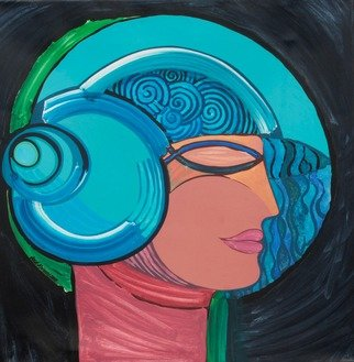 Jose Miguel Perez Hernandez; Mairim Combed With Snails, 2015, Original Painting Acrylic, 96 x 95 cm. Artwork description: 241 Description: Profile of his daughter with a beautiful hairstyle and daring hat. See the structure of the composition in an enclosure perfect, the drawing of the profile gives the fullness of this work. See the color gamut in the finest light of the blue, which make this ...