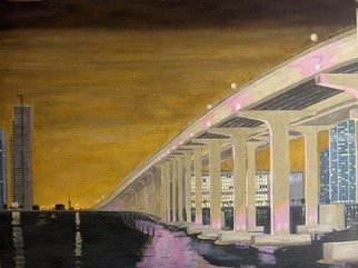 Joshua Goehring; Causeway Bridge, 2008, Original Painting Oil, 24 x 18 inches. Artwork description: 241  Original oil on linen panel painting depicting the lights of the 195 Causeway Bridge in Miami, FL. ...
