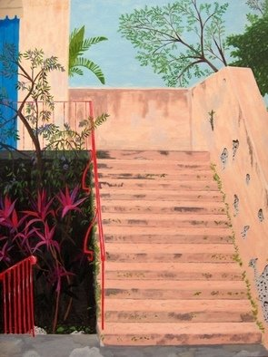 Joshua Goehring; Venetian Steps, 2007, Original Painting Acrylic, 15 x 20 inches. Artwork description: 241  Original acrylic on illustration board painting of a stairway at the Venetian Pool in Coral Gables, FL. ...