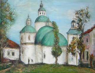 Jovica Vucinic; Green Roof   Church, 2004, Original Painting Oil, 20 x 16 inches.