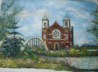Jovica Vucinic; La Salle Church, 2007, Original Painting Oil, 24 x 18 inches.
