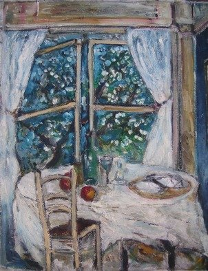 Jovica Vucinic; Open Window, 2000, Original Painting Oil, 11 x 14 inches.